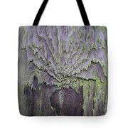 Weathered Wood And Lichen Abstract Tote Bag