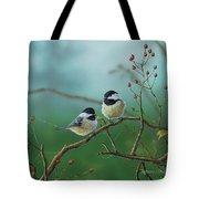 Web Chickadees Tote Bag
