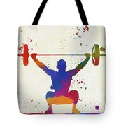 Weightlifter Paint Splatter Tote Bag