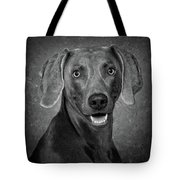 Weimaraner In Black And White Tote Bag