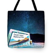 Welcome Sign To Death Valley National Park California At Night Tote Bag