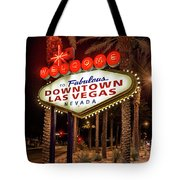 R.i.p. Welcome To Downtown Las Vegas Sign At Night Tote Bag