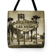 Welcome To Las Vegas Series Sepia Grunge Tote Bag