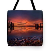 West Boat Launch Fall Sunrise Tote Bag