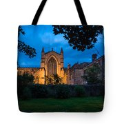 West Side Of Hexham Abbey At Night Tote Bag