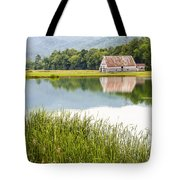 West Virginia Barn Reflected In Pond   Tote Bag