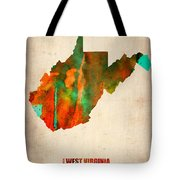 West Virginia Watercolor Map Tote Bag by Naxart Studio