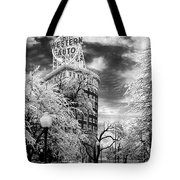 Western Auto In Winter Tote Bag