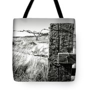 Western Barbed Wire Fence Black And White Tote Bag