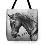 Western Horse Black And White Tote Bag by Crista Forest