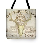 Western Range 3 Old West Deer Skull Wooden Sign Trading Company Tote Bag