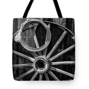 Western Rope And Wooden Wheel In Black And White Tote Bag
