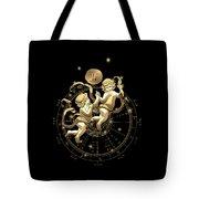 Western Zodiac - Golden Gemini - The Twins On Black Canvas Tote Bag