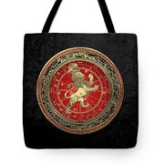 Western Zodiac - Golden Leo - The Lion On Black Velvet Tote Bag