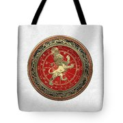 Western Zodiac - Golden Leo - The Lion On White Leather Tote Bag