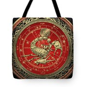 Western Zodiac - Golden Scorpio - The Scorpion On Black Velvet Tote Bag