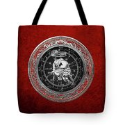 Western Zodiac - Silver Taurus - The Bull On Red Velvet Tote Bag