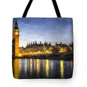 Westminster Bridge And Big Ben Art Tote Bag