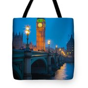 Westminster Bridge At Night Tote Bag by Inge Johnsson