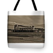 Weston  Super Mare   Outflow  Pier  Black  White Tote Bag
