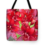 Wet Lilies Tote Bag