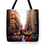 Wet Streets Of New York City Tote Bag