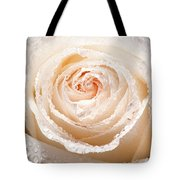Wet White Rose Tote Bag