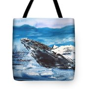 Whale Breaching Tote Bag
