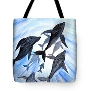 Whale Family On Sun Ray Tote Bag