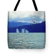 Whales Blowing Tote Bag