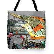 Whatever It Takes - Makeshift Sail At Tema Harbor Tote Bag
