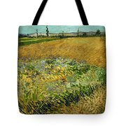 Wheat Field With Alpilles Foothills In The Background At Wheat Fields Van Gogh Series, By Vincent  Tote Bag
