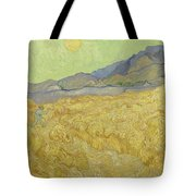 Wheat Field With Reaper At Wheat Fields Van Gogh Series, By Vincent Van Gogh Tote Bag