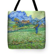 Wheat Fields In A Mountainous Landscape, By Vincent Van Gogh, 18 Tote Bag