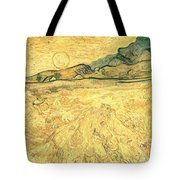 Wheatfield With Reaper And Sun Tote Bag