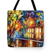 When The City Sleeps 2 - Palette Knife Oil Painting On Canvas By Leonid Afremov Tote Bag