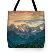 When The Sun Says Good Bye To The Mountains  Tote Bag