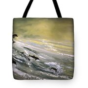 Where Dolphins Play Tote Bag