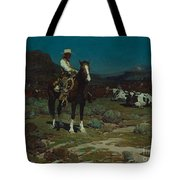 While Trail-weary Cattle Are Sleeping  Tote Bag