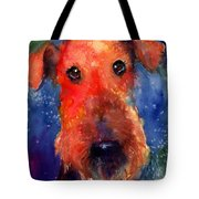 Whimsical Airedale Dog Painting Tote Bag