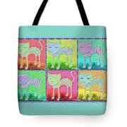 Whimsical Colorful Tabby Cat Pop Art Tote Bag