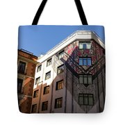 Whimsical Madrid - A Building Draped In Traditional Spanish Mantilla Tote Bag
