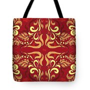 Whimsical Organic Pattern In Yellow And Red I Tote Bag