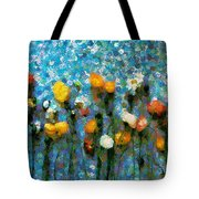 Whimsical Poppies On The Blue Wall Tote Bag