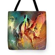 Whirled In Digital Rainbow Tote Bag