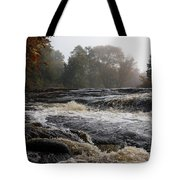 Whiskey River - Foggy Fall Waterscape Tote Bag