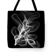 White Abstract Swirl On Black Tote Bag