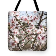 White Almond Flowers Tote Bag