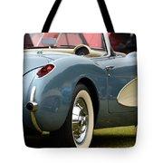 White And Light Blue Corvette Tote Bag