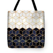 White And Navy Cubes Tote Bag